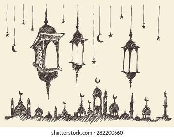 Ramadan celebration vintage engraved illustration, hand drawn