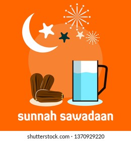 Ramadan Conceptual Design Illustration Template Sunnah Sawadaan means tradition food and drink for fasting - Vector