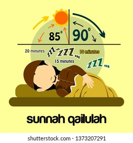 Ramadan Conceptual Design Illustration Template Sunnah Qailulah means tradition sleeping before 12 pm - Vector