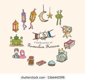 Ramadan Doodle art set with Mosque, Alquran, Drum, Muslim-muslimah, Lantern, Crescent,cake, star, Dates and Ketupat. Islamic Hand drawn doodle icon vector illustration eps.10