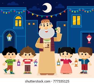 Ramadan Drummer ( mesaharaty ) , kids carrying  lanterns