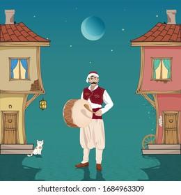 Ramadan drummer, Ottoman houses, cat, wheel and night. Vector drawing