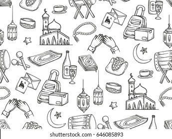 Ramadan and Eid al fitr doodle background