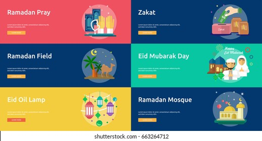 Ramadan and Eid Mubarak Conceptual Banner