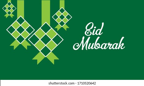 Ramadan and Eid Mubarak (Idul Fitri) greetings with ketupat illustration. Ketupat is traditional food maked from rice for celebrating Eid Mubarak.