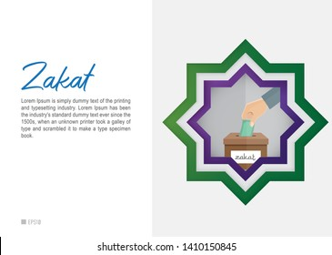 Ramadan and Eid Mubarak, Zakat  Conceptual Design. Zakat al-Fitr are charity taken for the poor few days before the end fasting in the Islamic holy month of Ramadan