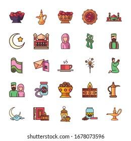 Ramadan fill style icon set design, Islamic muslim religion culture belief religious faith god spiritual meditation and traditional theme Vector illustration