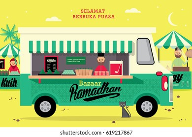 ramadan food truck template vector/illustration with malay words that mean happy breaking of fast