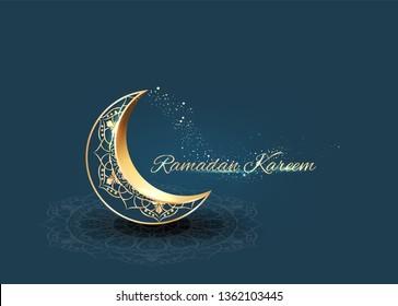Ramadan with golden ornate crescent greeting  card islamic celebration background