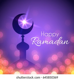 Ramadan Greeting Card for celebration of holy month. Vector night background with mosque and lights
