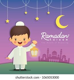Ramadan greeting card. Cute cartoon muslim boy holding lantern with crescent moon, stars and mosque as background. Vector illustration. Ramadan Kareem means Ramadan the Generous Month.