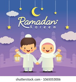 Ramadan greeting card. Cute cartoon muslim kids holding lantern with crescent moon, stars and mosque as background. Vector illustration. Ramadan Kareem means Ramadan the Generous Month.