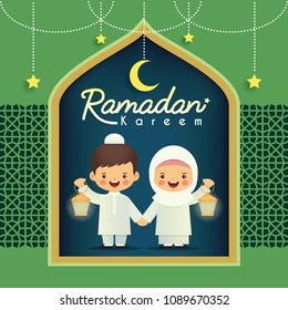 Ramadan greeting card. Cute cartoon muslim kids holding lantern with crescent moon and stars on green paper cut background. Vector illustration. Ramadan Kareem means Ramadan the Generous Month.