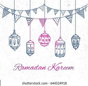 Ramadan greeting card with hand drawn lantern and bunting flag on grunge background