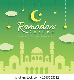Ramadan greeting card. Mosque  silhouette with crescent moon, stars and clouds as background. Vector illustration. Ramadan Kareem means Ramadan the Generous Month.