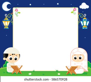 Ramadan greeting card , a Muslim boy and girl are Reading Quran and between them an empty white board