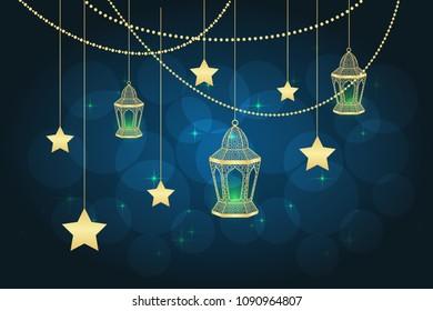 Ramadan greeting card on blue background. Vector illustration.