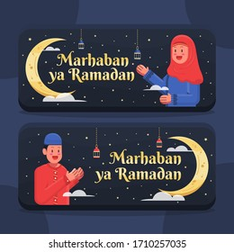 Ramadan greeting card vector, Banner and Postcard social media. Holy month 1441 in islam religion. cute boy and girl, hanging lantern, crescent moon icon in flat design cartoon style