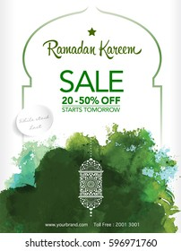 Ramadan greetings background. Ramadan al mubarak means Ramadan the Generous Month