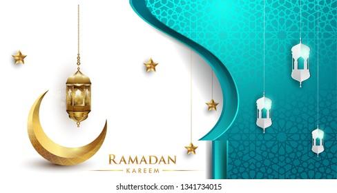 Ramadan greetings background, Elegant greetings card design template, place for text greeting card and banner for Ramadan kareem.