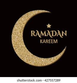 Ramadan greetings background. Ramadan Kareem lettering. Vector illustration.