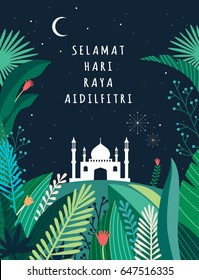 Ramadan greetings background. View of mosque in blue night background with shiny lights. Malay word selamat hari raya aidilfitri that translates to wishing you a joyous hari raya. Vector illustration