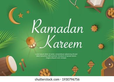 Ramadan greetings banner with lantern, dates leaves, moon and star, quran. Islamic banner for Ramadhan mubarok month. 3d Vector