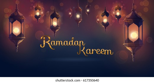 Ramadan hanging shiny lanterns poster several glowing lamps on a dark blue background. Ramadan Kareem illustration