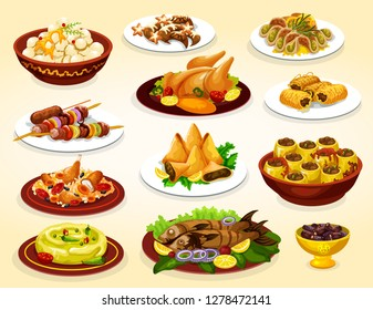 Ramadan holiday food of iftar party arabian dishes. Date fruits, baklava and samosa islamic dessert, chicken rice biryani, grilled kebab and fish, hummus, stuffed zucchini and crescent moon cookie