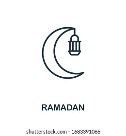 Ramadan icon from hollidays collection. Simple line Ramadan icon for templates, web design and infographics