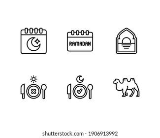 Ramadan icon set with islamic calendar, fasting and camel icon