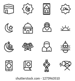 Ramadan icons pack. Isolated ramadan symbols collection. Graphic icons element