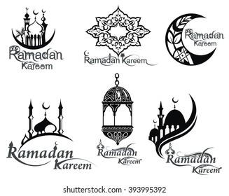Ramadan icons set