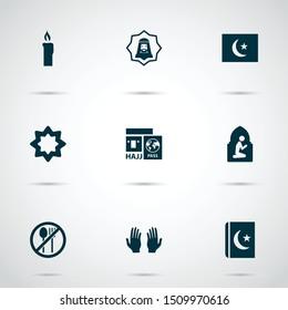 Ramadan icons set with hajj, pray, namaz room and other palm   elements. Isolated vector illustration ramadan icons
