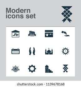Ramadan icons set with kaaba, halal, financial assistance and other building elements. Isolated vector illustration ramadan icons.