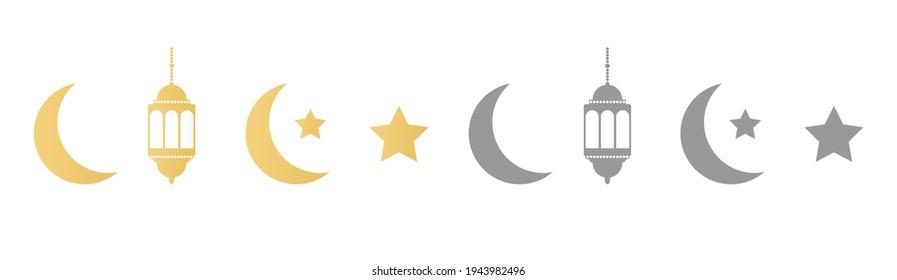 Ramadan icons set on long banner. Gold and gray lanterns, crescent and stars. Ramadan Kareem greeting card. Celebration design elements. Muslim islamic feast. Vector illustration.