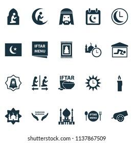 Ramadan icons set with rug, candle, azan human elements. Isolated vector illustration ramadan icons.