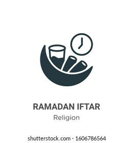 Ramadan iftar glyph icon vector on white background. Flat vector ramadan iftar icon symbol sign from modern religion collection for mobile concept and web apps design.