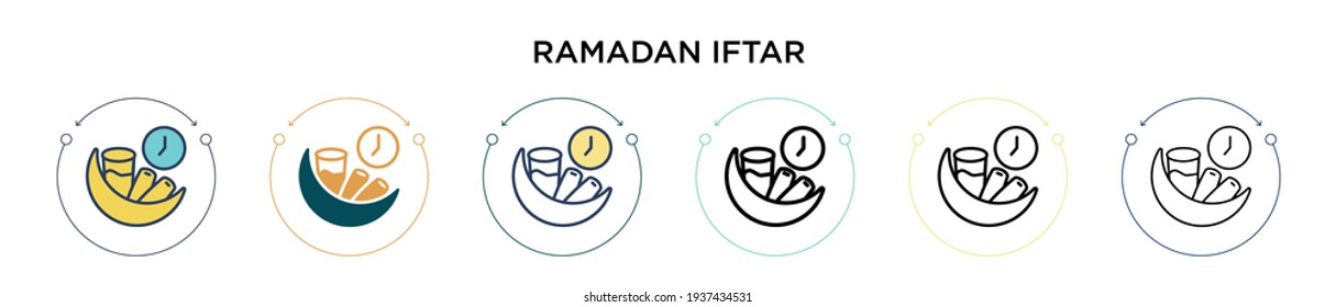 Ramadan iftar icon in filled, thin line, outline and stroke style. Vector illustration of two colored and black ramadan iftar vector icons designs can be used for mobile, ui, web