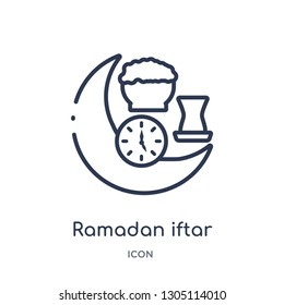 ramadan iftar icon from religion outline collection. Thin line ramadan iftar icon isolated on white background.