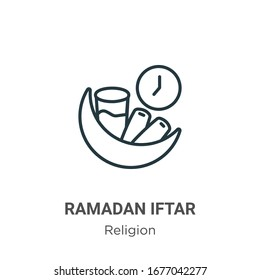 Ramadan iftar outline vector icon. Thin line black ramadan iftar icon, flat vector simple element illustration from editable religion concept isolated stroke on white background