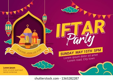 Ramadan Iftar party design poster and banner