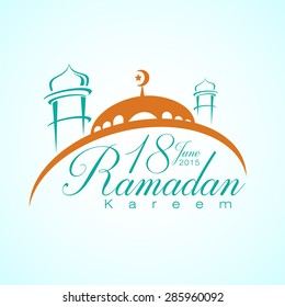 Ramadan Kareem 18 June 2015 with Mosque. Vector Illustration