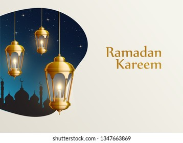 ramadan kareem 2019 gold lanterns place for text night sky with stars
