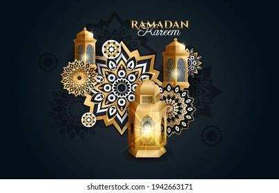 Ramadan Kareem 2021 vector illustration of a lantern Fanus. the Muslim feast of the holy month of Ramadan Kareem. Translation from Arabic: Generous Ramadan
