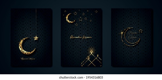 Ramadan Kareem 2021 vector set greeting card. Gold half moon on black background. Golden holiday poster with text, islamic symbol. Concept Muslim religion banner, flyer, party invitation, sale shop - Shutterstock ID 1954316803