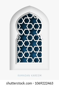 Ramadan Kareem 3d abstract paper cut illustration. Islamic mosque window with geometric pattern and blue sky. Greeting card template in beautiful craft style.