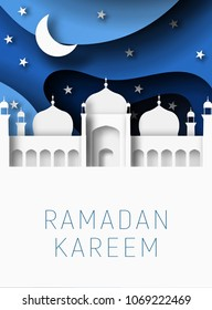 Ramadan Kareem 3d abstract paper cut illustration. Islamic mosque, moon, sky and blue sky. Space for text. Greeting card template in beautiful craft style.