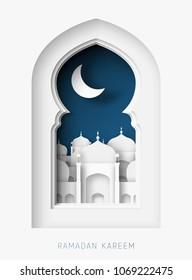 Ramadan Kareem 3d abstract paper cut illustration. Window with islamic mosque. moon and blue sky. Greeting card template in beautiful craft style.