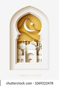 Ramadan Kareem 3d abstract paper cut illustration. Window with islamic mosque. moon and gold sky. Greeting card template in beautiful craft style.